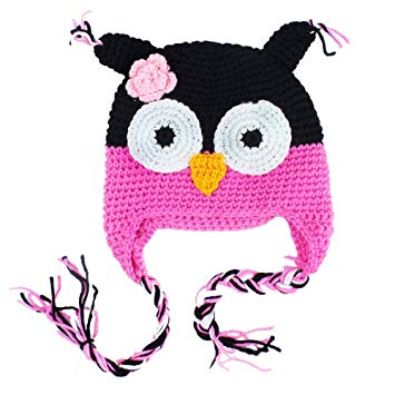 Treena Bean Owl Hat, Baby Girl Hot Pink, Black, Soft Pink & White Owl Hat,  Winter Crochet Hat, Fits 6.
