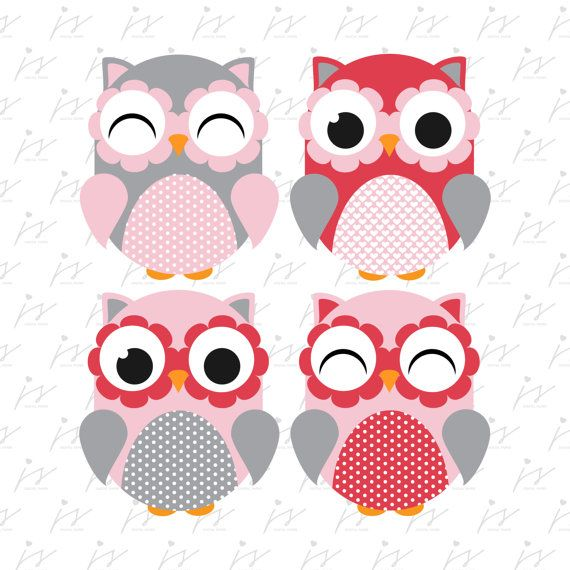 Red Grey Pink Owl Clipart Design Graphics by JSdigitalpaper.