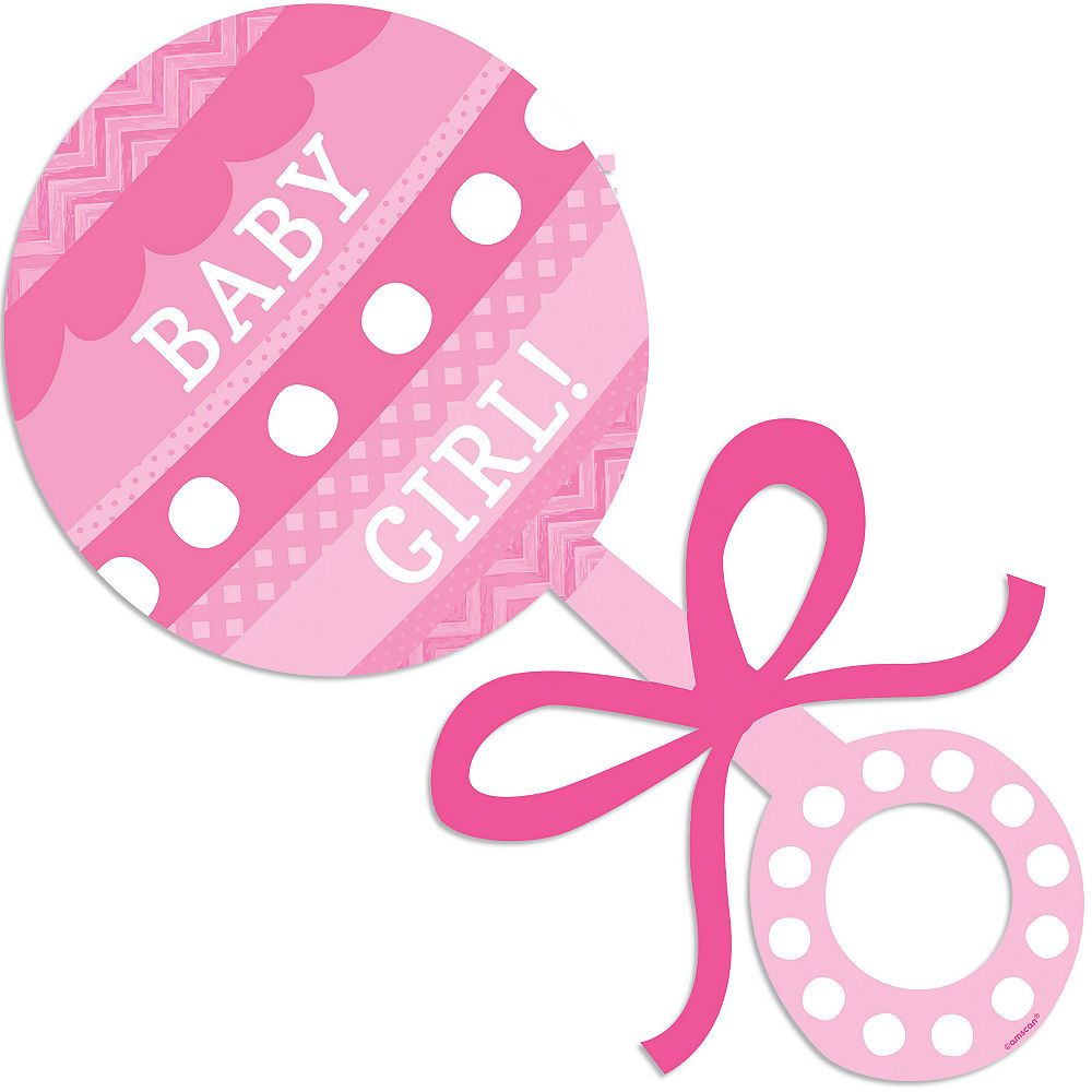 Baby Girl Rattle Cutout 7 3/4in x 15 1/2in.