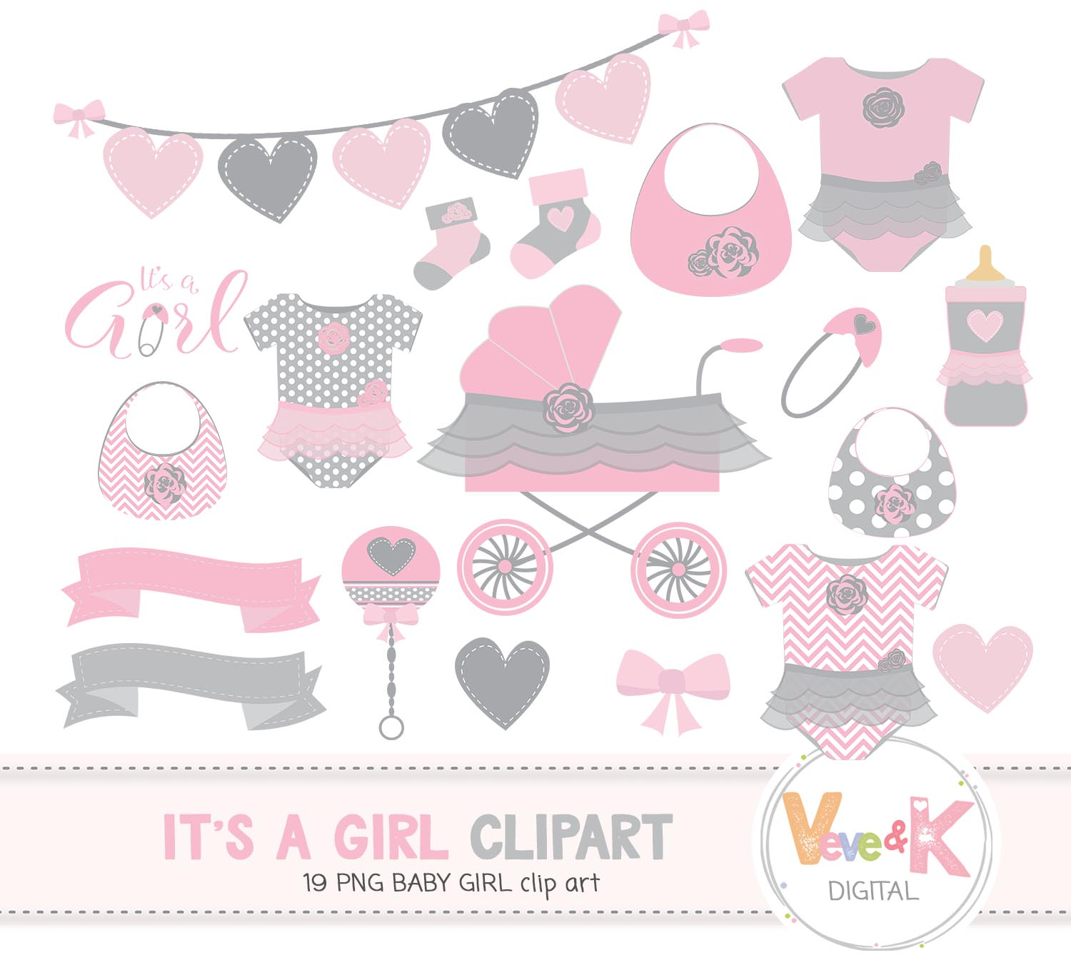 Baby Shower Clip Art, Baby Girl Clipart, Baby Girl Baby Shower DIY, Its a  Girl, Pink and Gray Baby Shower, Baby Shower.