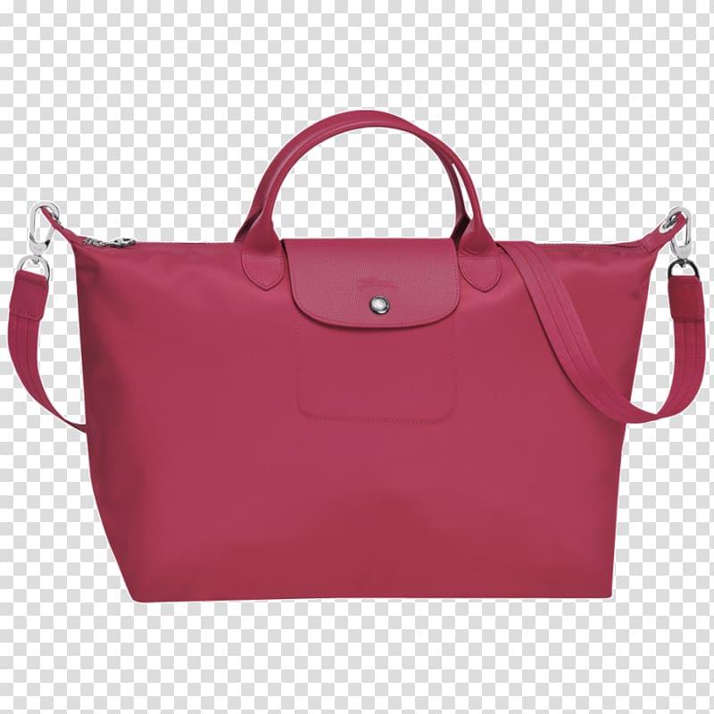 Longchamp Pliage Handbag Pink, bag transparent background.