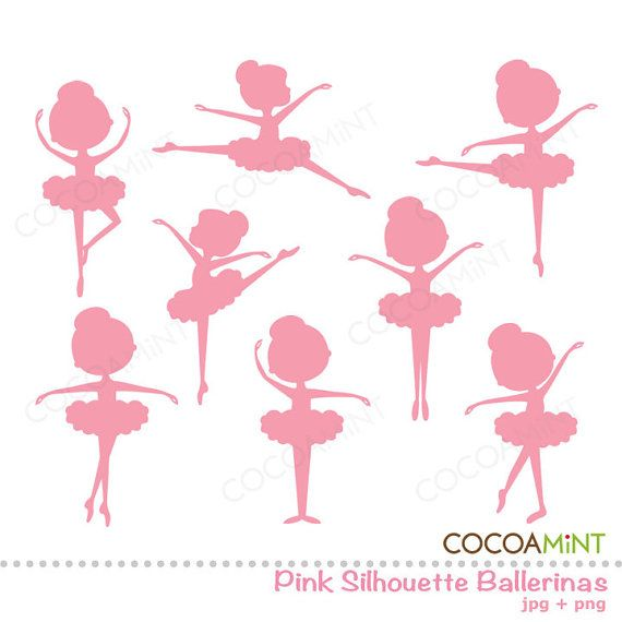 Pink Silhouette Ballerina Clipart.