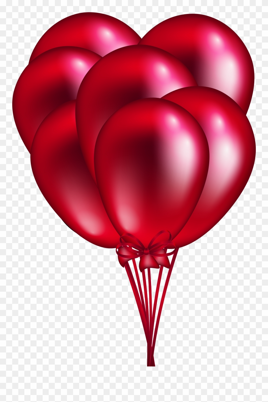 Red Balloon Bunch Png Clip Art.