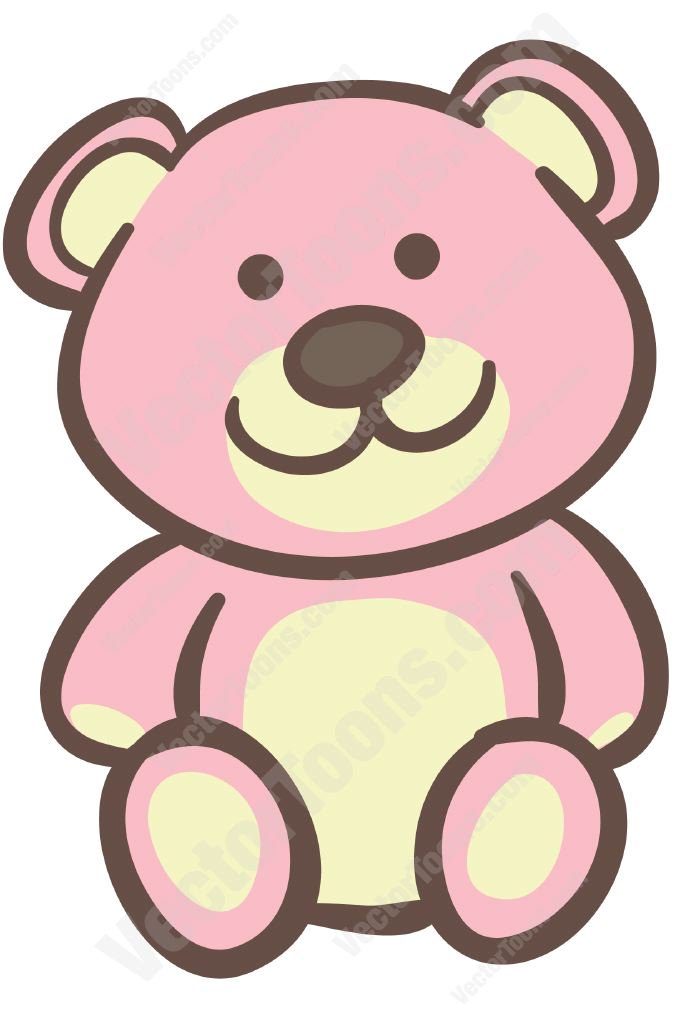 Pink Teddy Bear Vector Clip Art Cartoon.