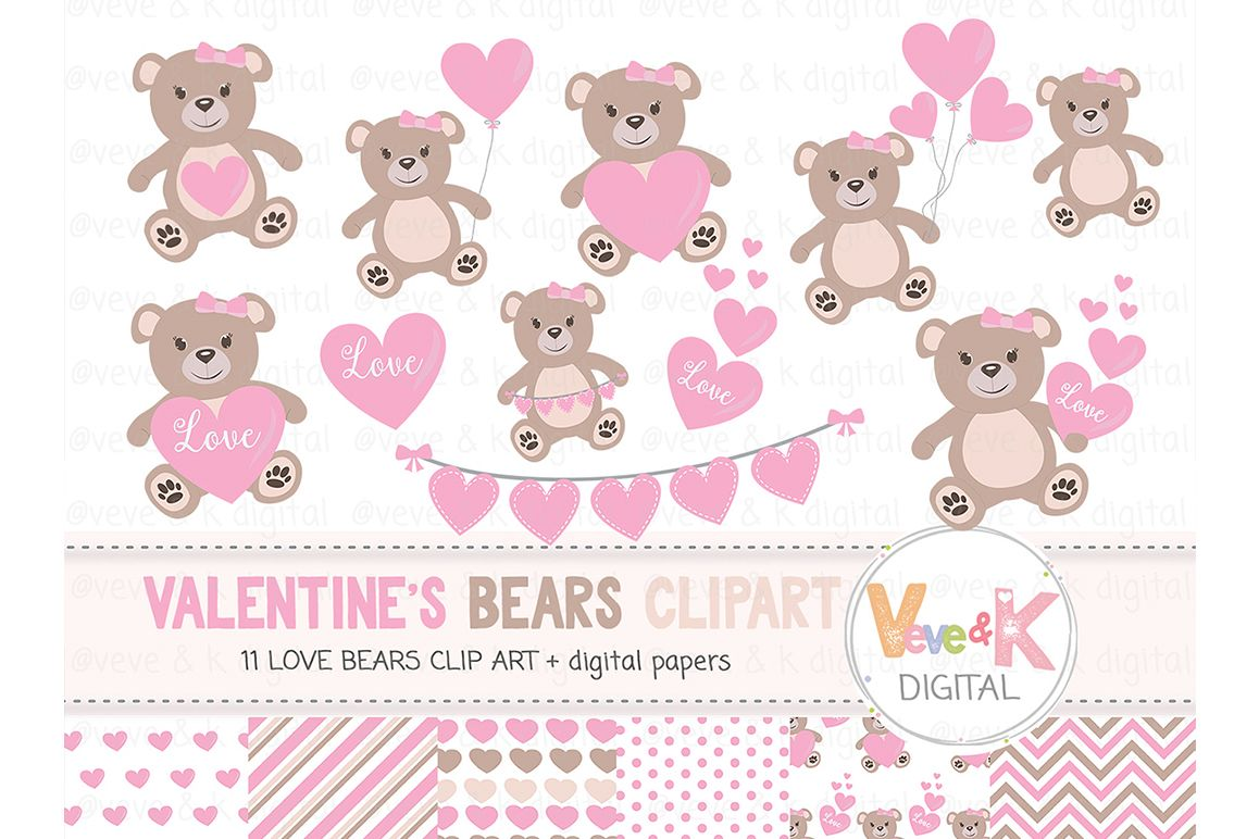 Teddy Bear Clipart Set, Love Bear Clipart, Love Bear Digital Papers,  Valentines day Clip art, Pink Hearts Clipart, Love Bear Images, Love.