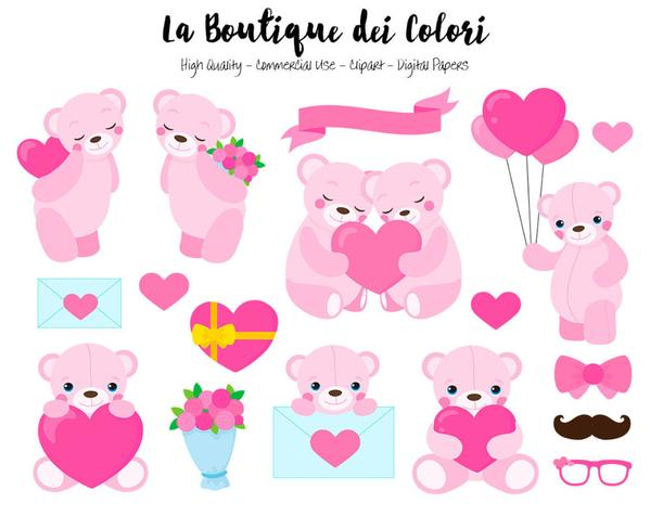 Pink Valentine\'s Day Teddy Bears Clipart.