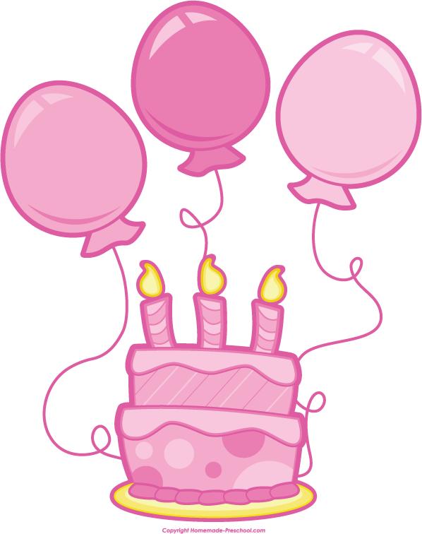 pink birthday balloons clip.