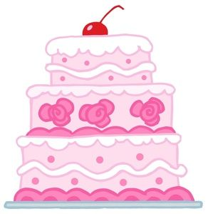 Pink Birthday Cake Clip Art.