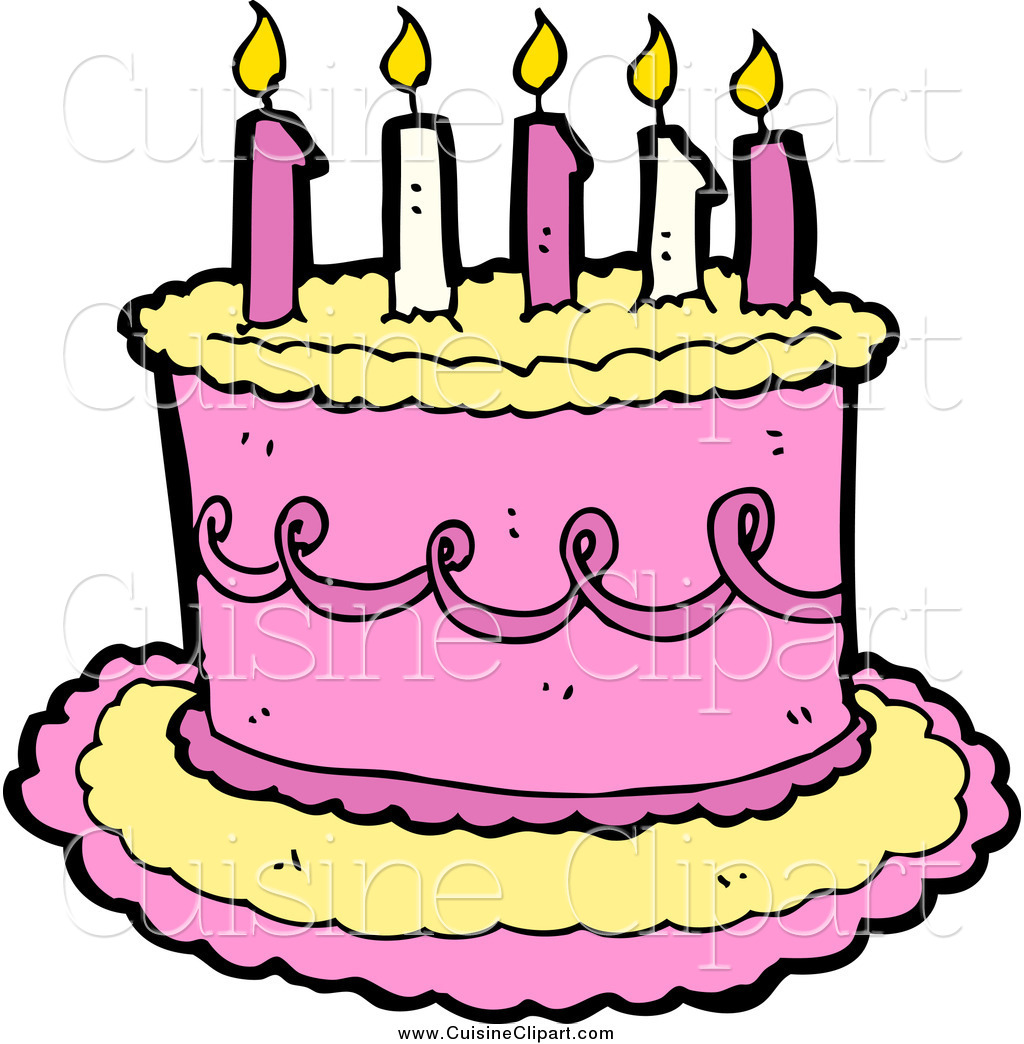 Cuisine Clipart of a Yellow and Pink Birthday Cake with.