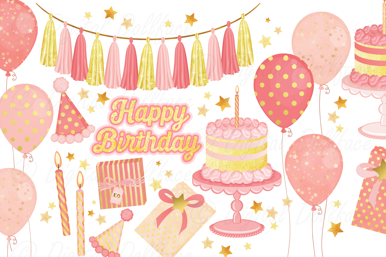 Pink Birthday Clipart Set.