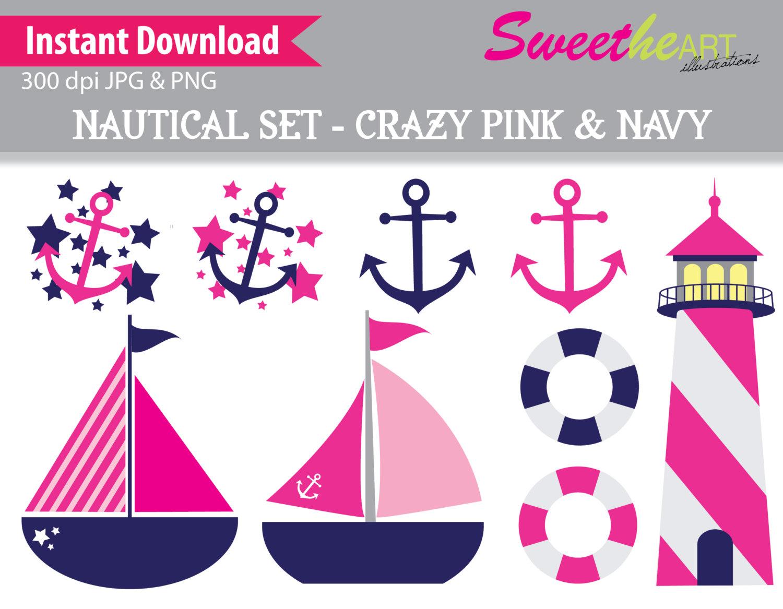 Nautical Clipart Pink Navy Green.