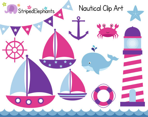 Nautical Clip Art Sail Boat Clipart Pink and by StripedElephants.