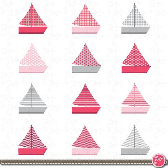 Sail Boat Clip Art Pink boat Nautical clip art by YenzArtHaut.