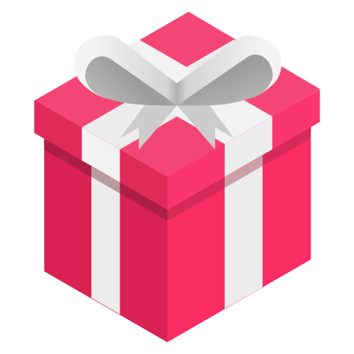 Box, gift, pink, ribbon icon.