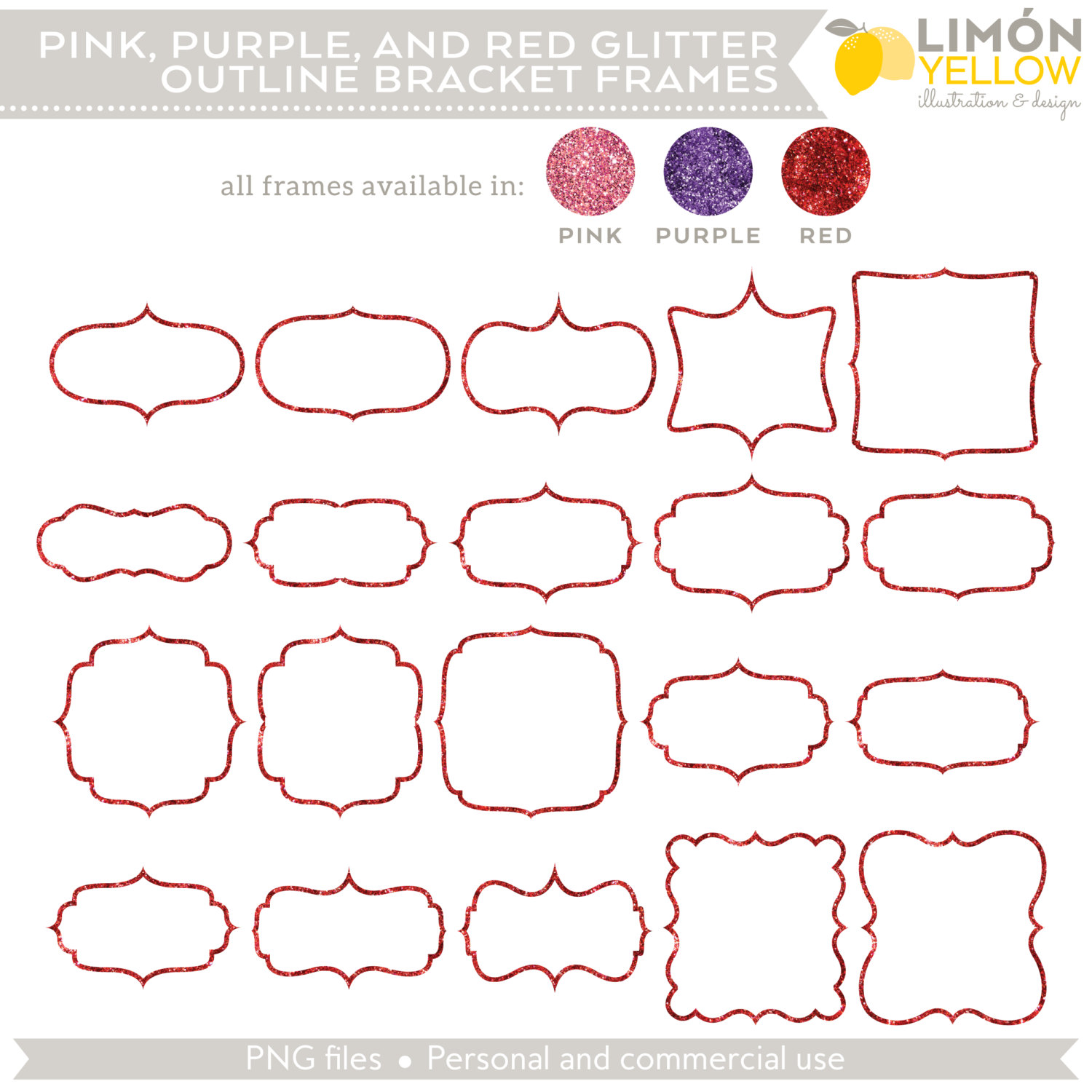 Digital Printable Frames Tags Pink Purple and Red Outline.