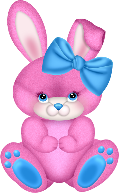 Pink Bunny with Pink Bow Clipart.