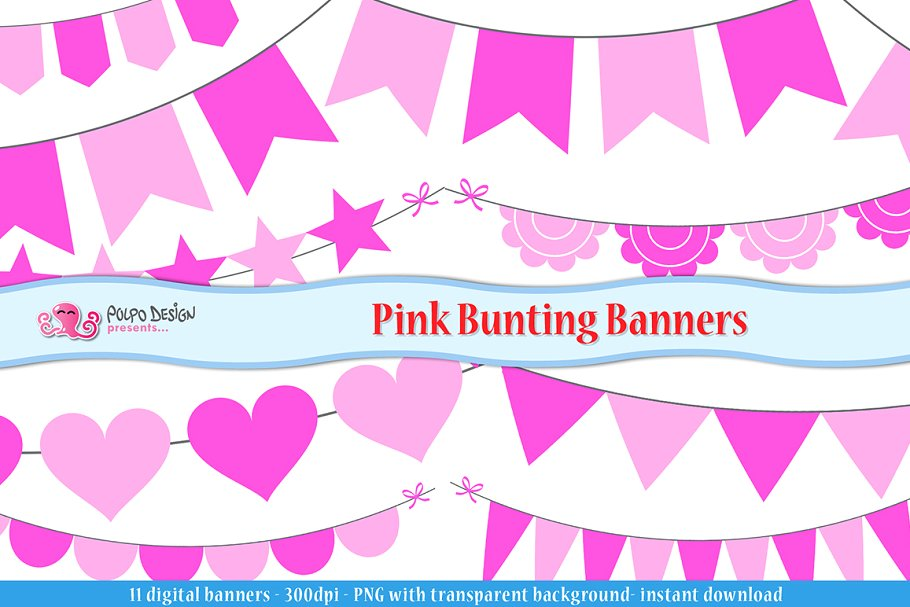 Pink Bunting Banners clipart.