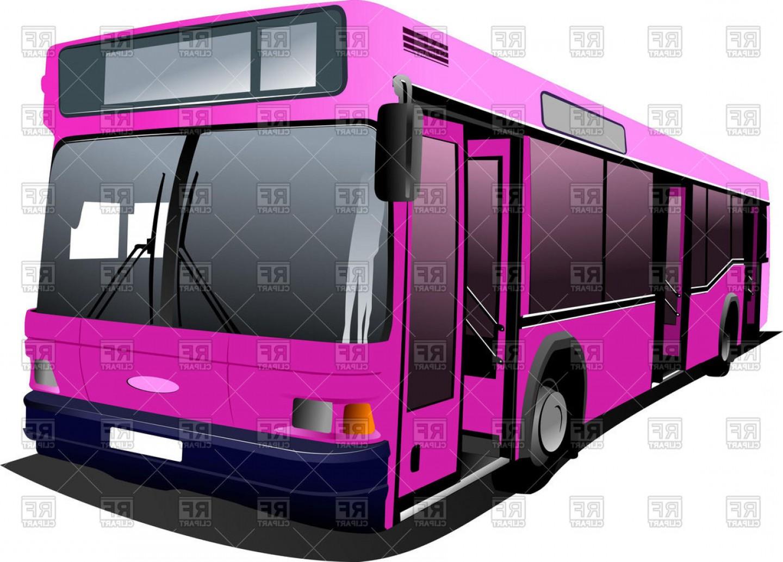 Modern Pink City Bus Vector Clipart.