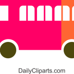 School Bus Pink Orange Mix Image.