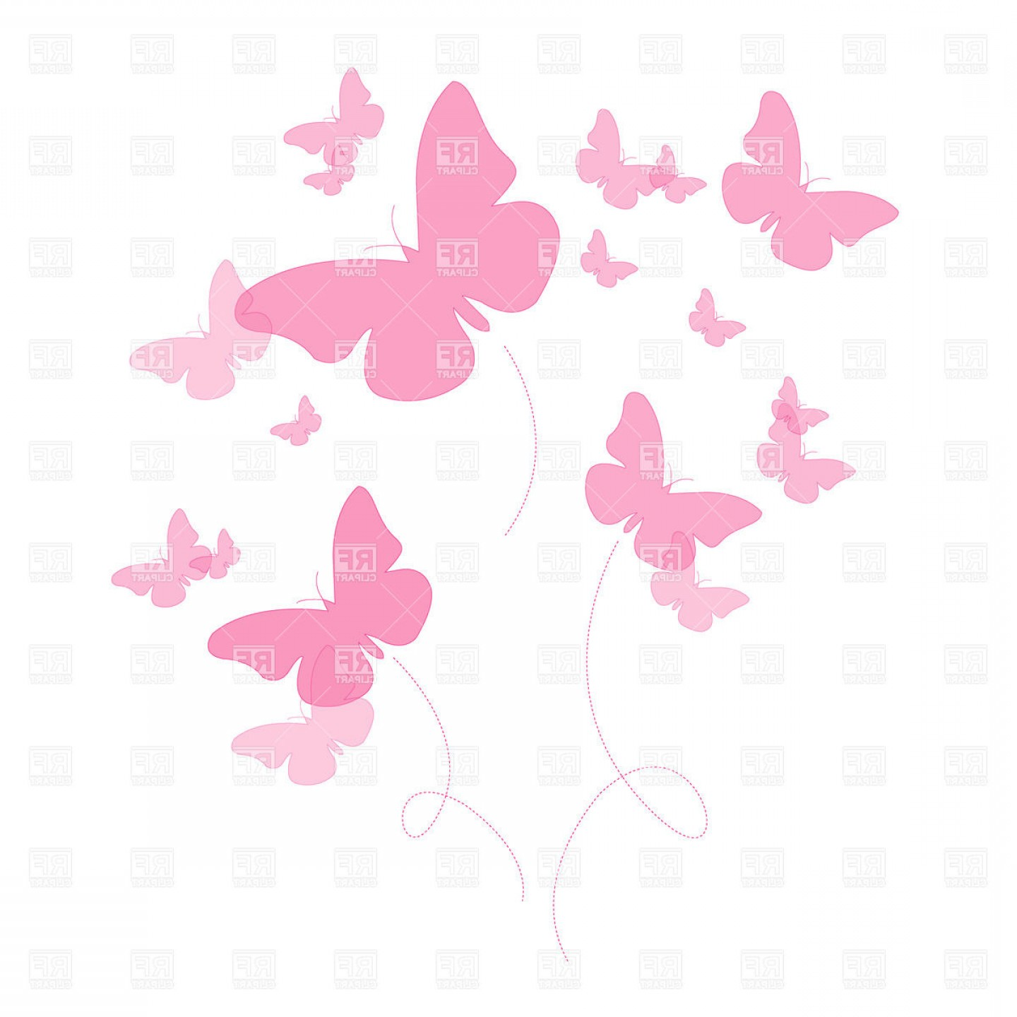 Silhouettes Of Pink Butterfly Vector Clipart.