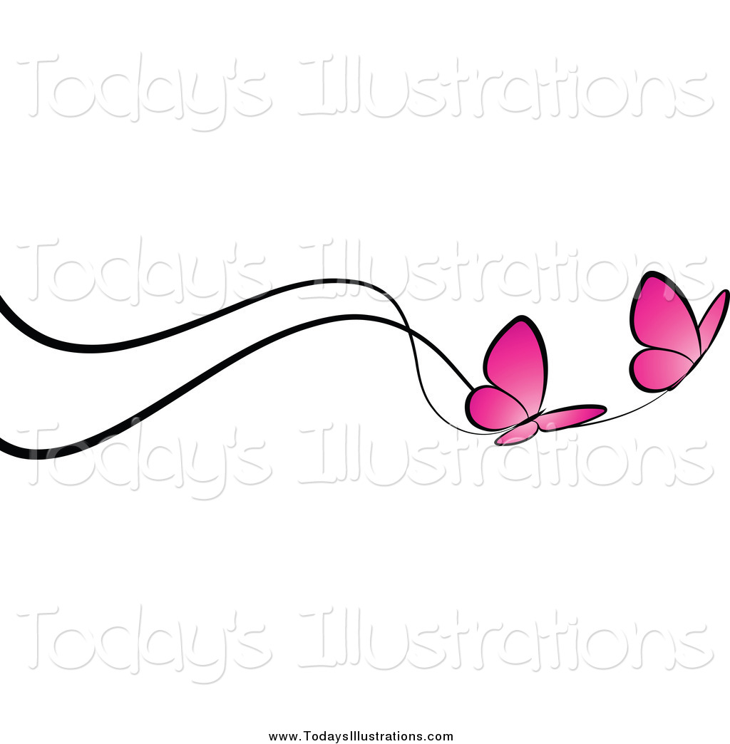 Butterfly Border Line Clipart.