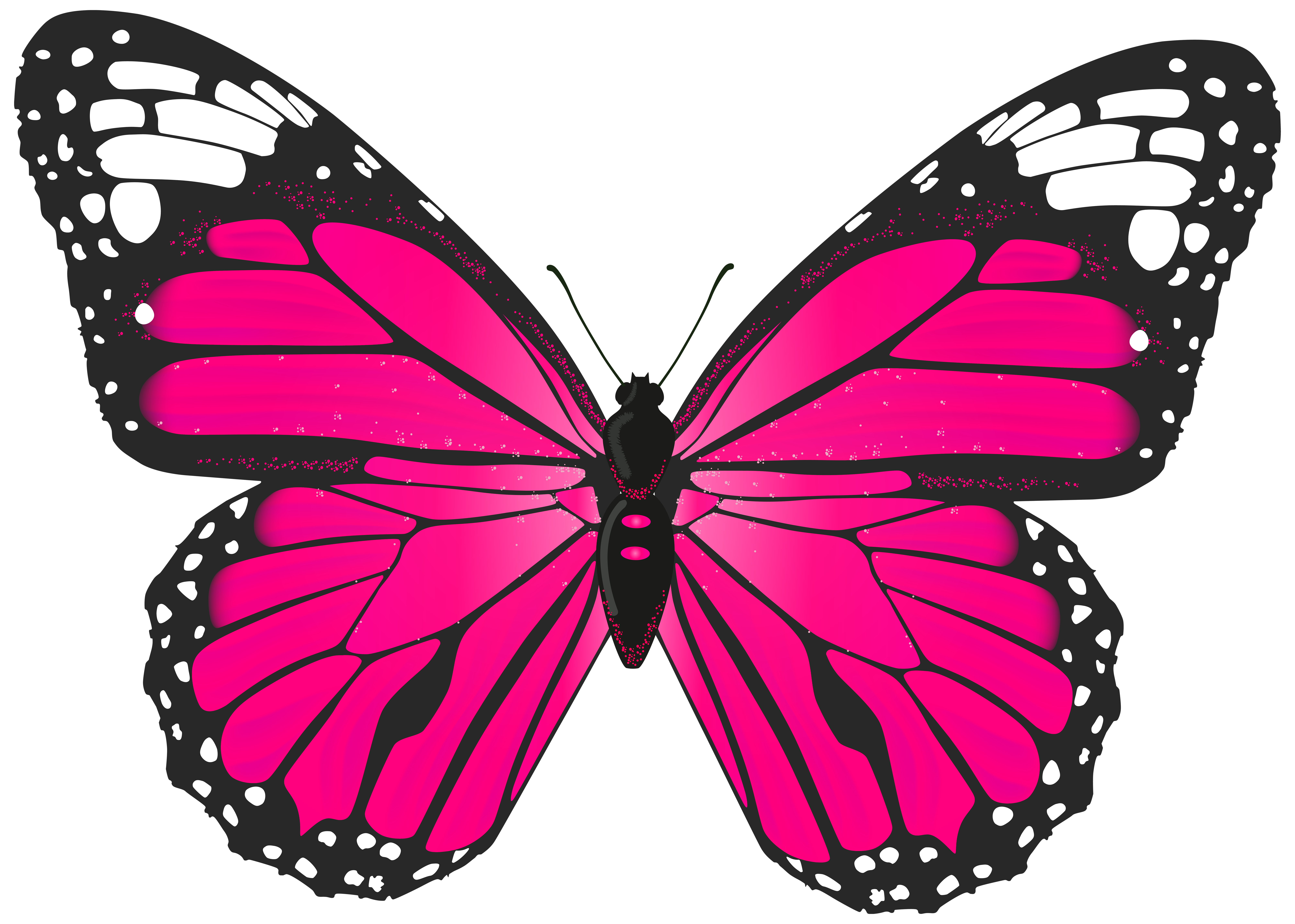 Pink Butterfly PNG Transparent Clip Art Image.