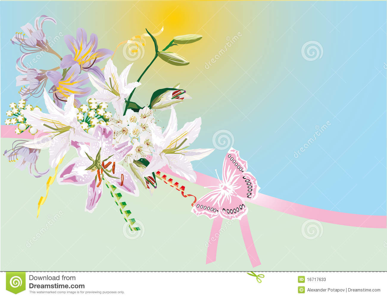 Lily Flowers And Pink Butterfly Stock Photos.