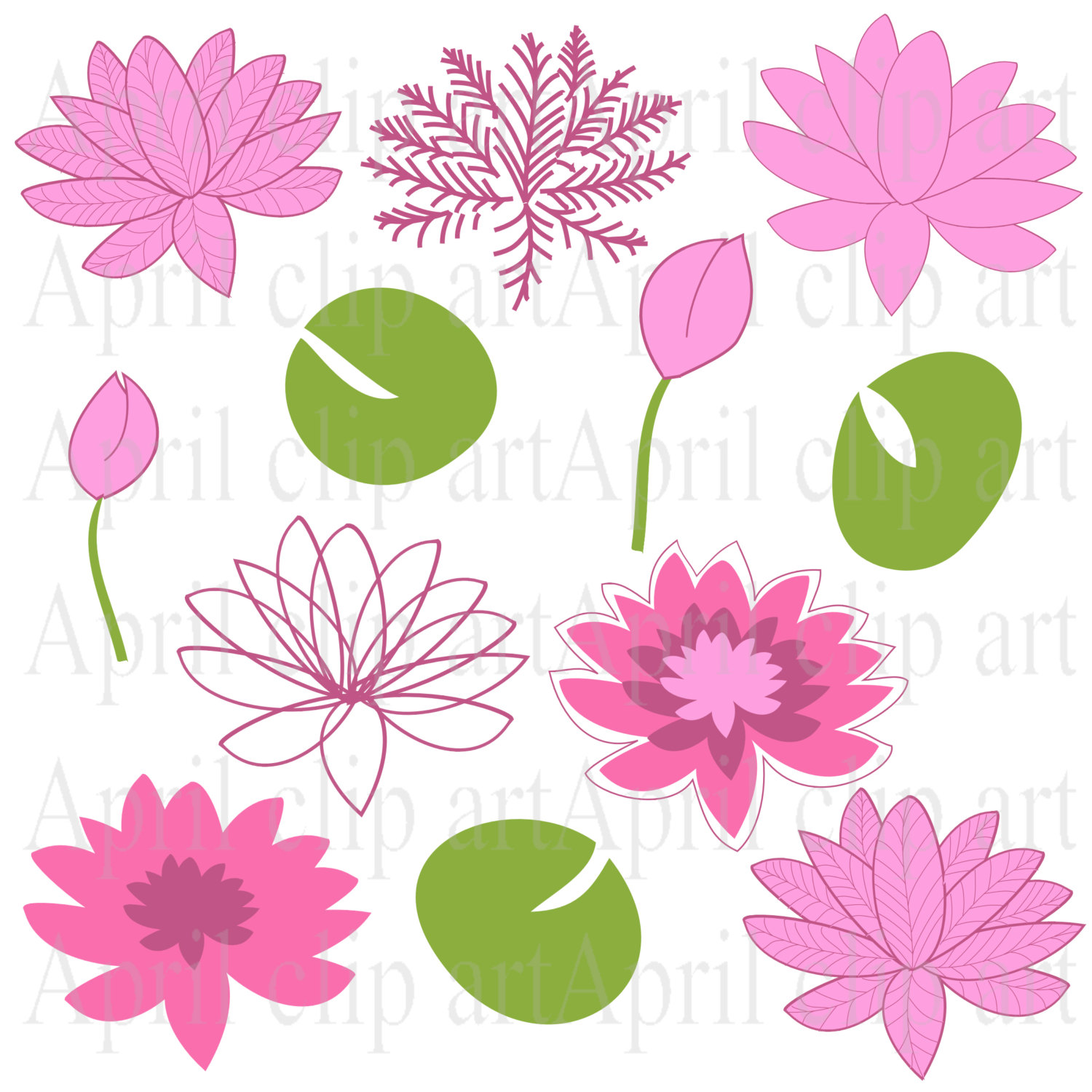 Clipart Flowers, Water Lilies Clip Art in Pink, 12 Flower graphics.