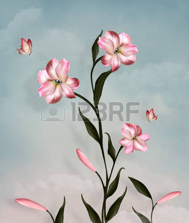 5,174 Pink Lily Stock Vector Illustration And Royalty Free Pink.