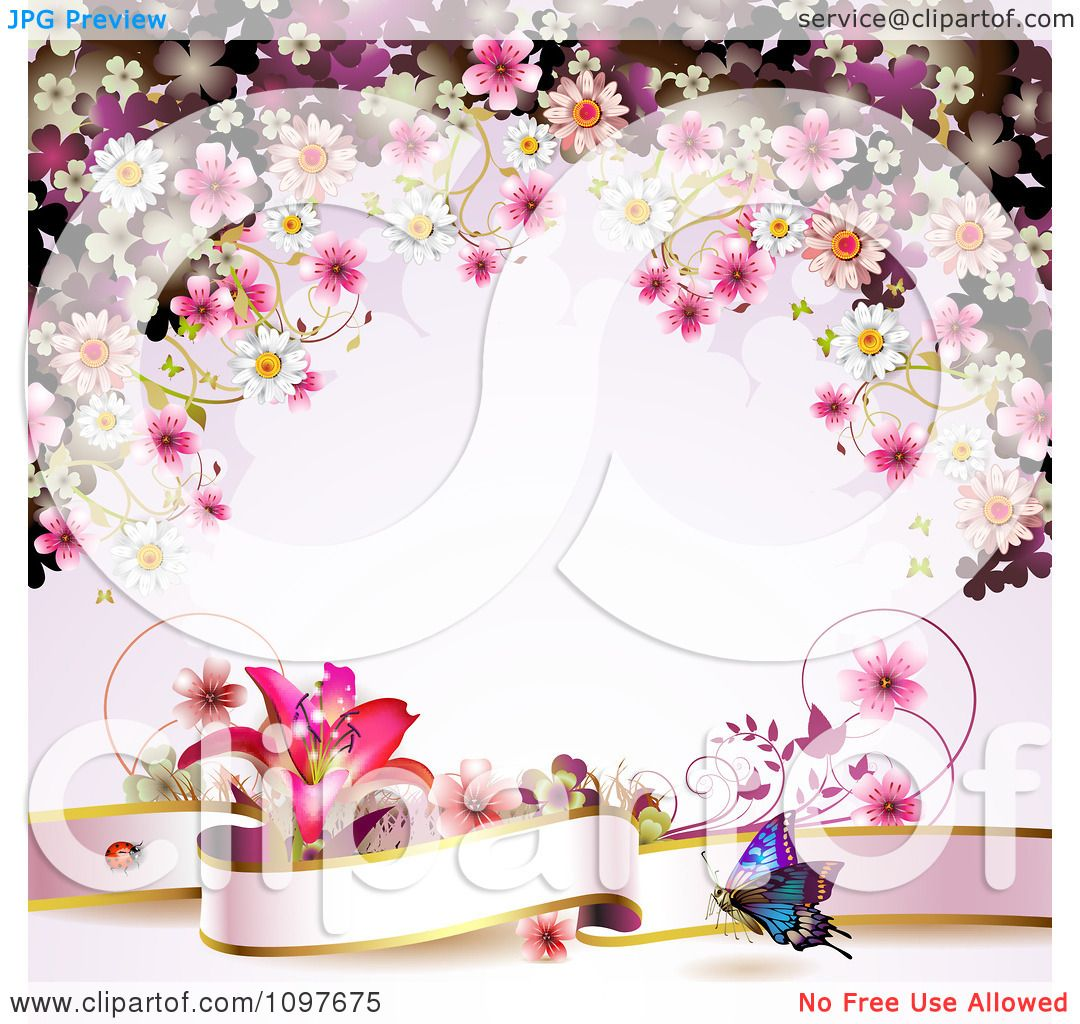 Clipart Pink Floral Blossom Wedding Background With A Lily.