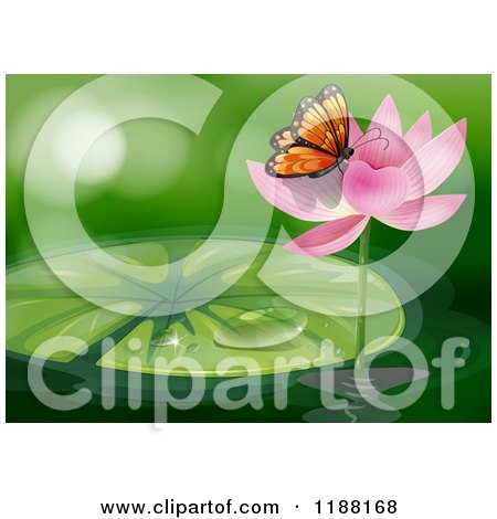 Clipart of a Pink Water Lily Lotus Flower and Pad.