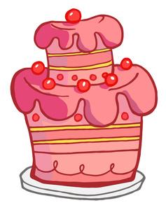 Pink Wedding Cake Clip Art.