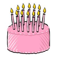 Pink birthday cake clip art.