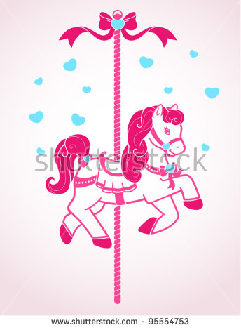 pink carousel horse cl...