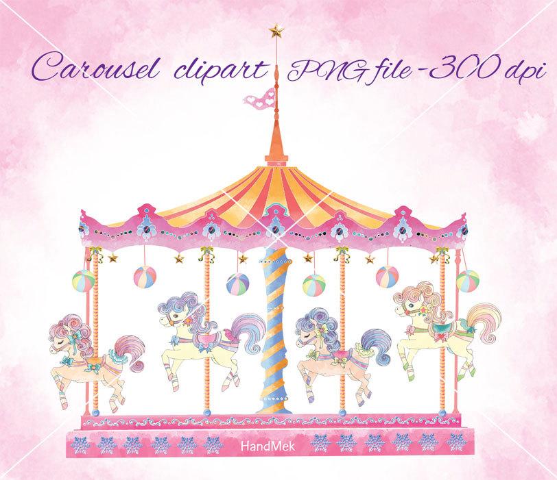 Carousel set clipart Cute Carousel Horse Ride Clip Art.