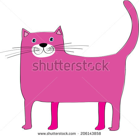 Pink Cat Stock Images, Royalty.