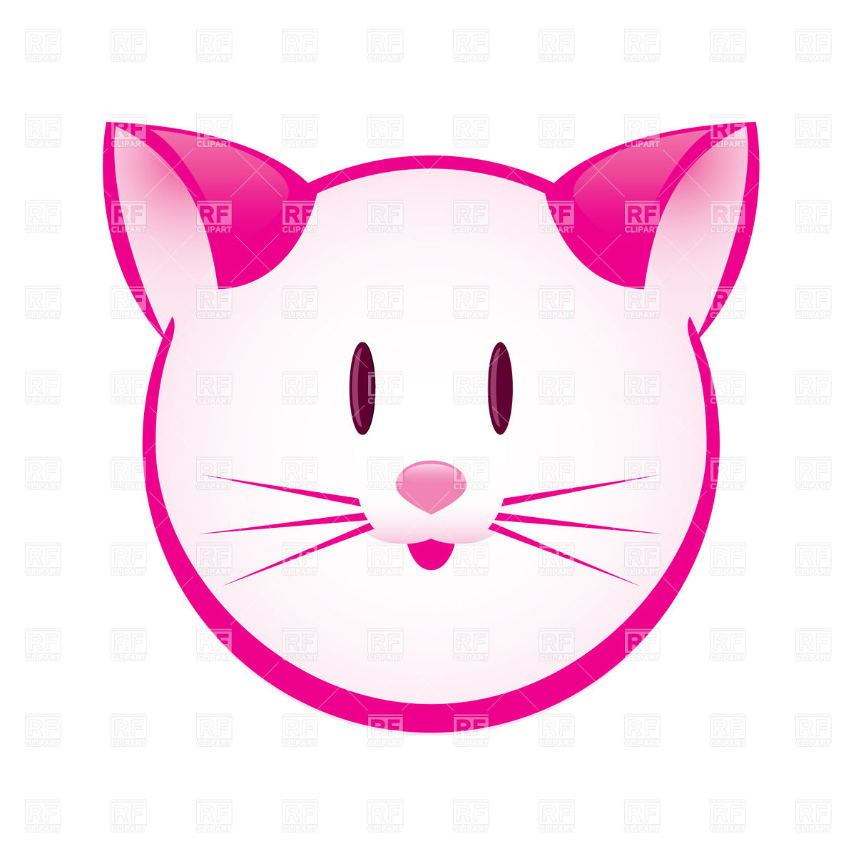 Cartoon pink kitty face Vector Image #8038.