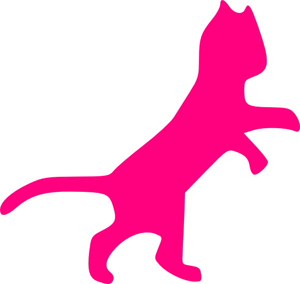 Pink Cat Sillohette Clip Art at Clker.com.