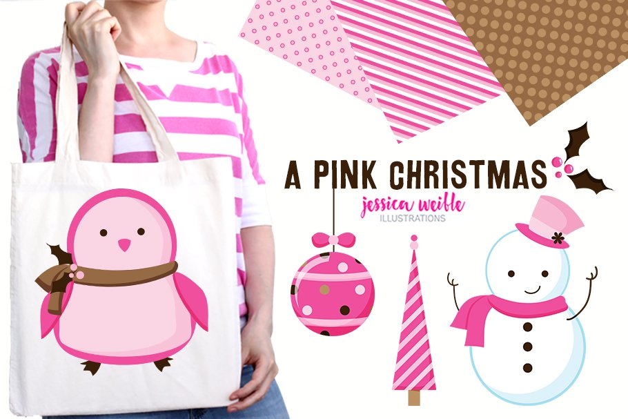 A Pink Christmas Clipart Collection.