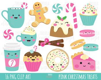 50% SALE CHRISTMAS clipart, christmas treats, christmas graphics, PINK.