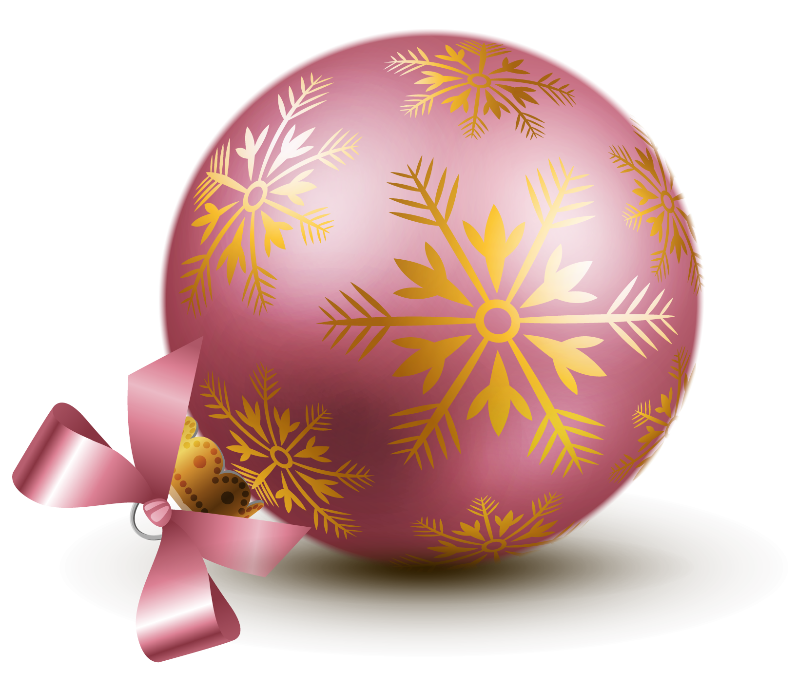 Transparent Pink Christmas Ball Ornaments Clipart.