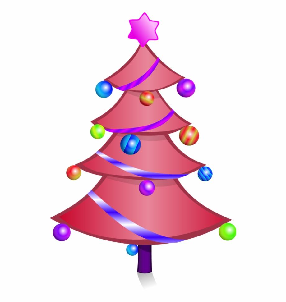 Cartoon Pink Christmas Tree Character.
