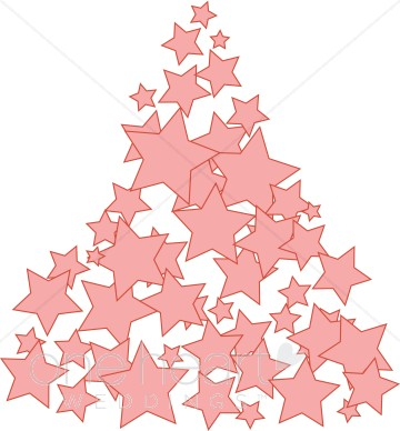 Pink Star Tree Clipart.