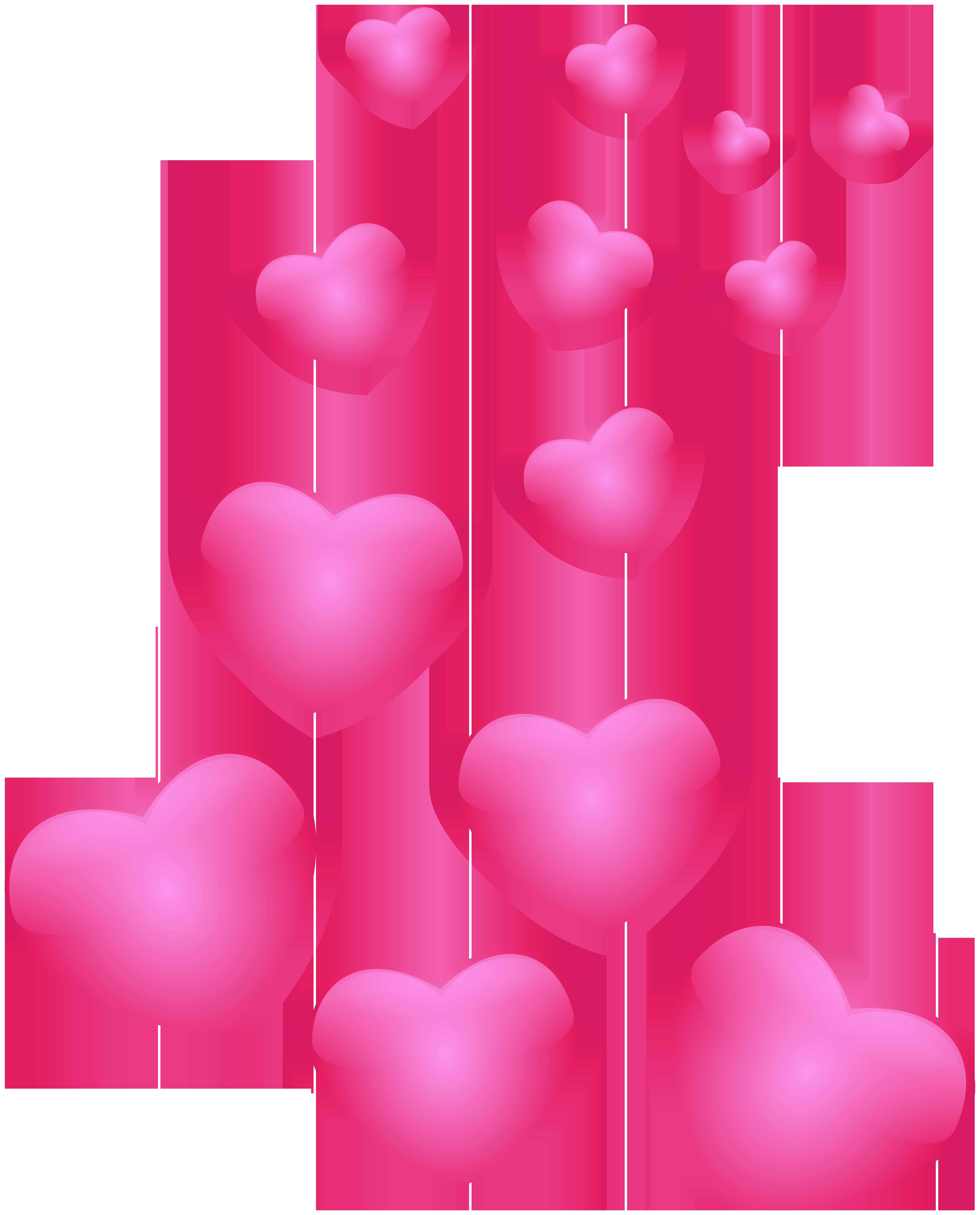Hearts Pink PNG Clip Art Image.