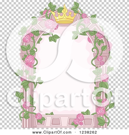 Clipart of a Pink Princess Crown and Rose Vine Frame.