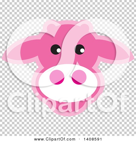 Clipart of a Happy Pink Cow Face.