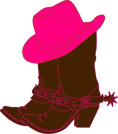 Cowgirl Boots And Pink Cowgirl Hat clip art.