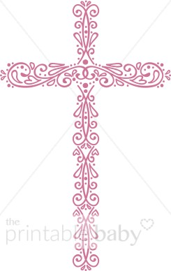 Pink And White Cross For Girl Clipart.