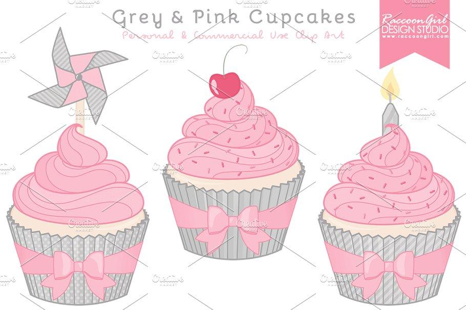 Grey & Pink Cupcake Clipart.