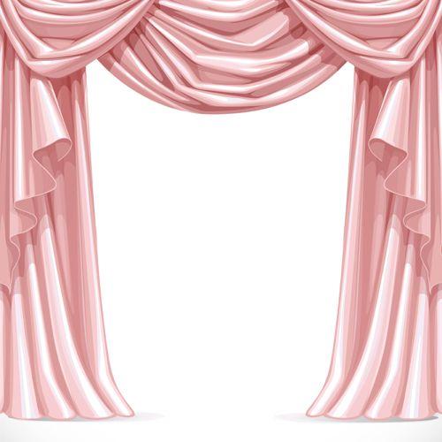 Ornate curtains design vector set 03.